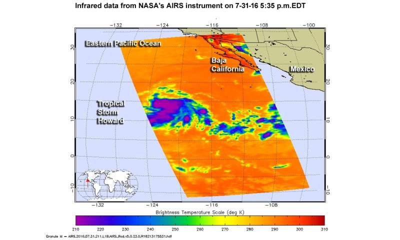 NASA spots Tropical Storm Howard developing in Eastern Pacific