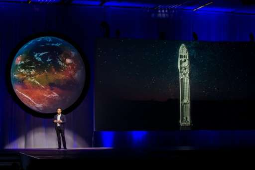 "Tesla Motors CEO Elon Musk speaks about the ""Interplanetary Transport System"" which aims to reach Mars with the first"