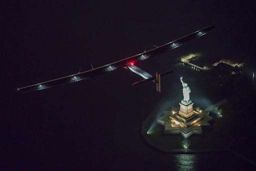 Solar-powered airplane lands in New York City