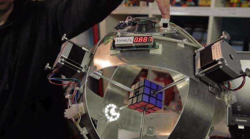 World record for Rubik's Cube robot race: the beat goes on