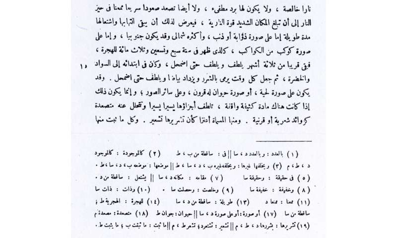 Examination of ancient text reveals details of Ibn Sina's sighting of supernova