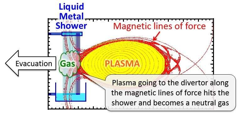 The fusion reactor that employs a liquid metal shower