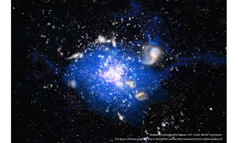 Embryonic cluster galaxy immersed in giant cloud of cold gas
