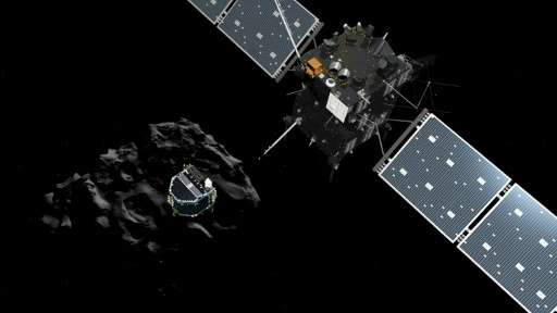 An artist's impression of the European probe Philae separating from its mother ship Rosetta and descending to the surface of com