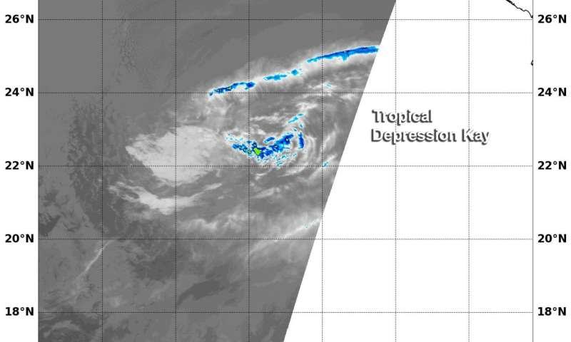 NASA's Aqua Satellite sees Tropical Depression Kay sevoid of strength