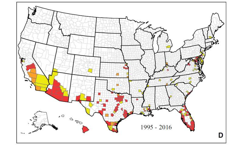 Researchers map mosquitoes that transmit Zika and Dengue by county