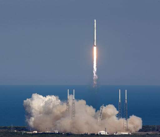 SpaceX launches futuristic pop-up room, lands rocket at sea