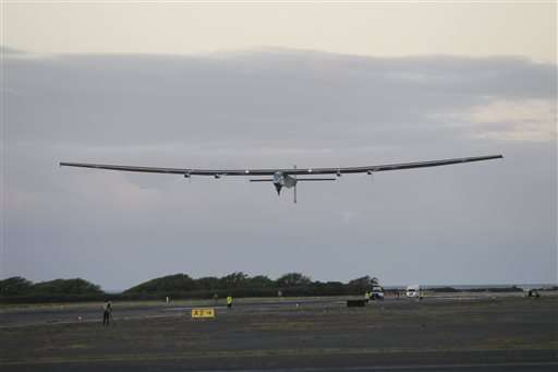 The Latest: Solar plane's Pacific crossing going smoothly