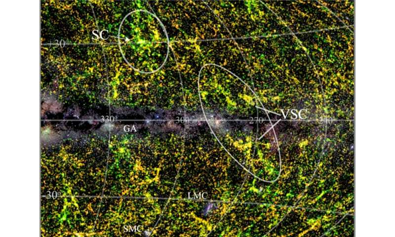 Team discovers major supercluster of galaxies hidden by Milky Way