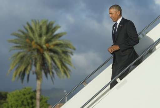 US President Barack Obama arrives at Joint Base Pearl Harbor - Hickam in Honolulu, Hawaii on August 31, 2016