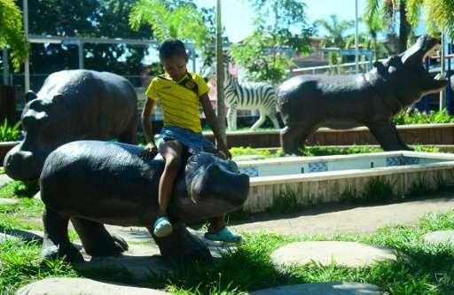 A boy sits on a hippo statue at Jorge Tulio Garces neighbourhood in Doradal, Colombia's Antioquia department, near the Hacienda