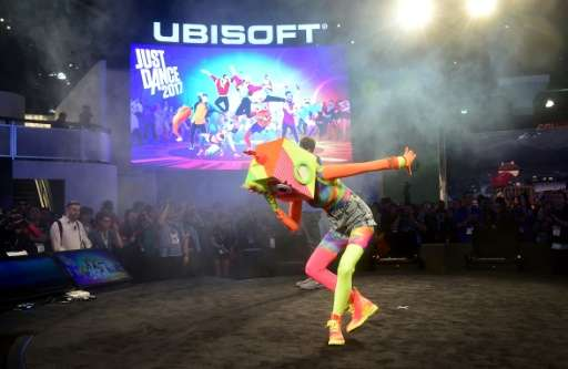 A dancer takes a bow while promoting 'Just Dance 2017' by Ubisoft on June 14, 2016