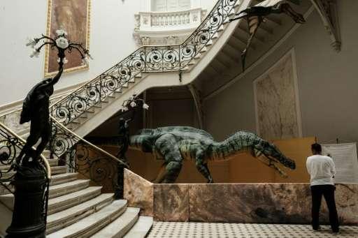A dinosaur replica at the Earth Science Museum in Rio de Janeiro