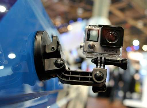 A GoPro Hero 4 camera is displayed at the 2015 International CES at the Las Vegas Convention Center on January 6, 2015 in Las Ve