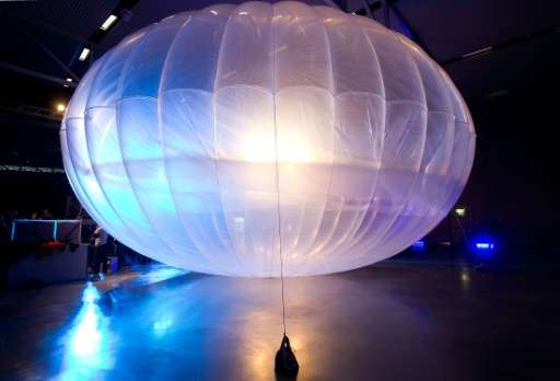 A high altitude WiFi internet hub Google Project Loon balloon is displayed at the Airforce Museum in Christchurch on June 16, 20