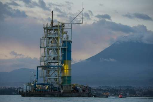 A methane extraction platform seen from the Kivu Lake in Gisenyi, Rwanda on April 17, 2016