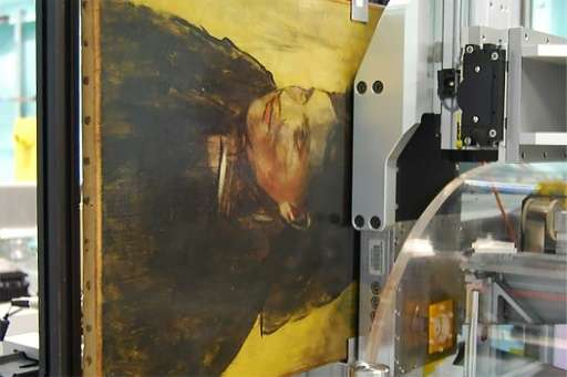 """An Edgar Degas painting """"Portrait of a Woman"""" pictured during an imaging scan by a MAIA Detector in Clayton, Australia"""