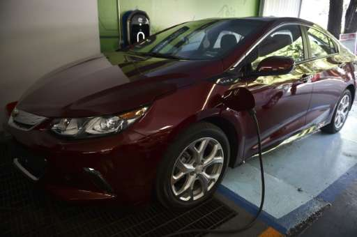 "A new electrical model of Chevrolet called ""Volt"" is on display at a showroom in Mexico City in April"