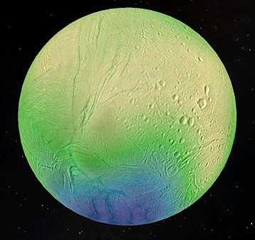 An ocean lies a few kilometers beneath Enceladus's icy surface