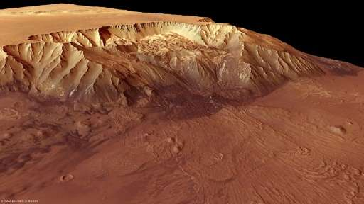 A picture released by the European Space Agency on October 8, 2010 shows Melas Chasma, a part of the huge Valles Marineris rift