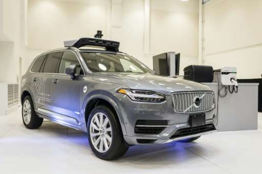 A pilot model of the Uber self-driving car is displayed at the Uber Advanced Technologies Center in Pittsburgh, Pennsylvania