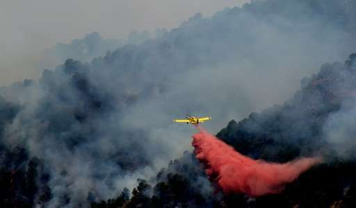 A plane fights a wildfire burning in Artana, near Castellon, eastern Spain on July 26, 2016