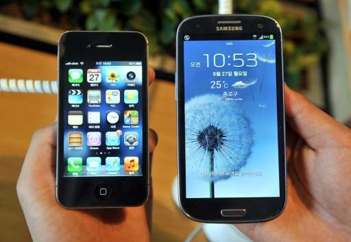 """Apple's lawsuit contends that Samsung infringed on patents for """"slide to unlock"""" and autocorrection, among others"""