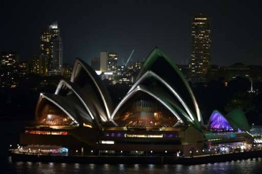 Australia's iconic landmark Sydney Opera House during the annual Earth Hour on March 23, 2013