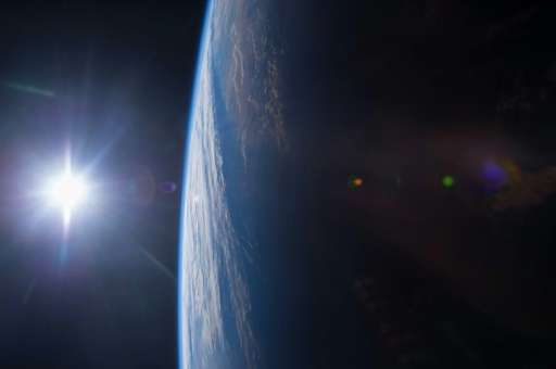 A view of the Gulf of Mexico and US Gulf Coast at sunset from the International Space Station taken by Expedition 42 Flight Engi