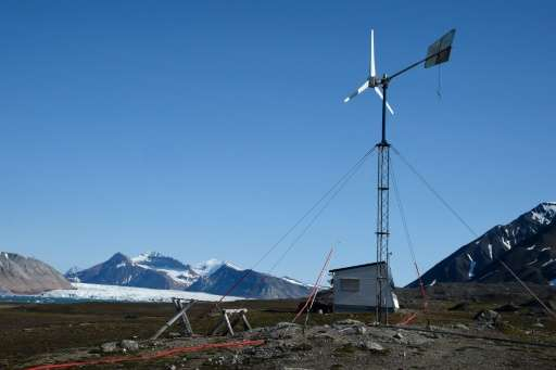A wind power station near the scientific base of Ny Alesund in Norway's Svalbard archipelago
