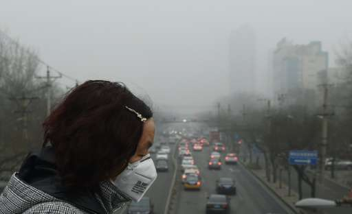 A woman wears a face mask on a heavily polluted day in Beijing on December 26, 2015