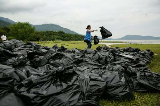 A worker sorts through bags of refuse washed ashore at the top of a beach in Hong Kong on July 10, 2016