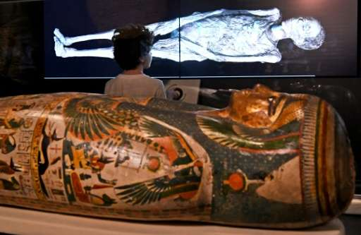 A young visitor looks at a 3D image of a CT scan of an Egyptian mummy, during a preview for a joint British-Australian exhibitio