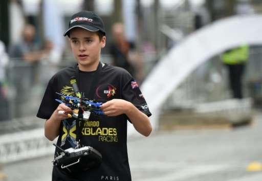 British teenage drone pilot Luke Bannister attends the 2016 Paris Drone Festival on September 4, 2016