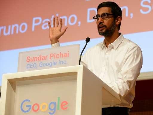 Chief Executive Officer of Google Inc Sundar Pichai addresses a meeting at SciencesPo university in Paris on February 24,2016