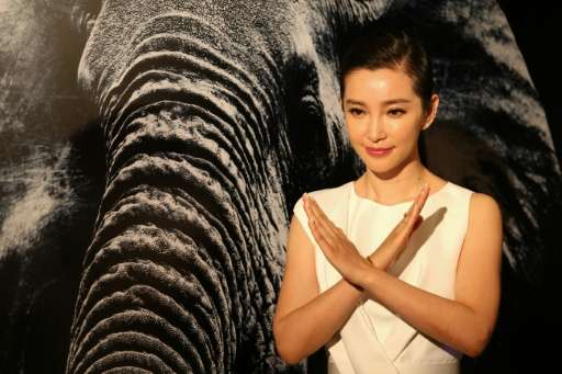 Chinese actress Li Bingbing at a press event in Hong Kong on October 23, 2015 after WildAid called on the Hong Kong government t
