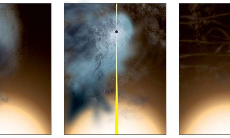 Close galactic encounter leaves 'nearly naked' supermassive black hole