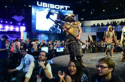 Costumed characterizations from the game 'For Honor' by Ubisoft roam the stage during E3 on June 14, 2016 in Los Angeles, Califo