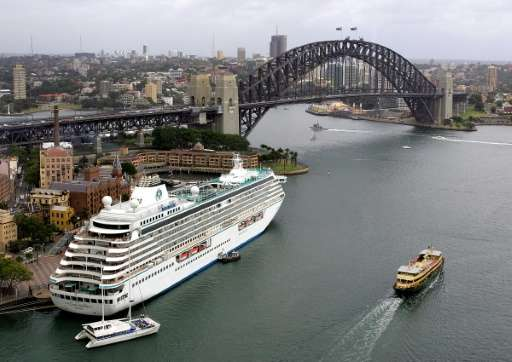 Cruise liner Crystal Serenity sits berthed at Sydney's historic Rocks area