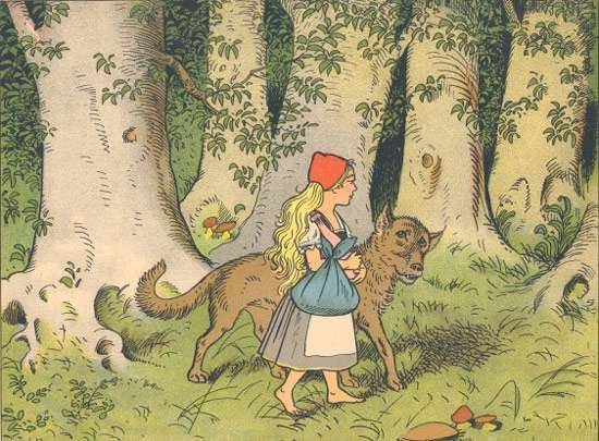 Data analysis of four hundred versions of Little Red Riding Hood