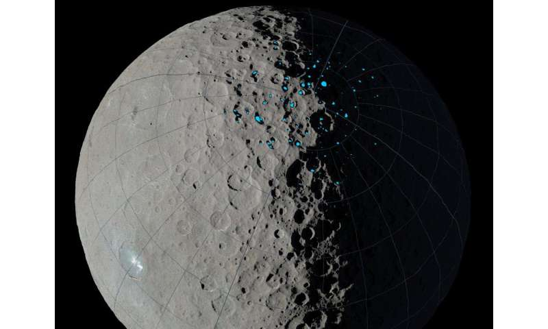 Dawn maps Ceres craters where ice can accumulate