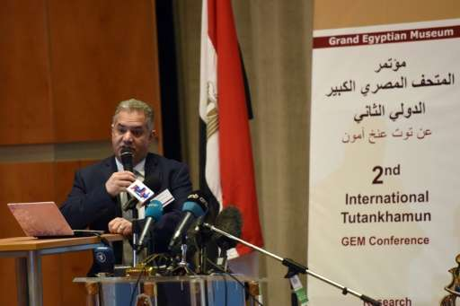Egyptian former antiquities minister Mamdouh al-Damati speaks during the Tutankhamun Grand Egyptian Museum (GEM) conference on M