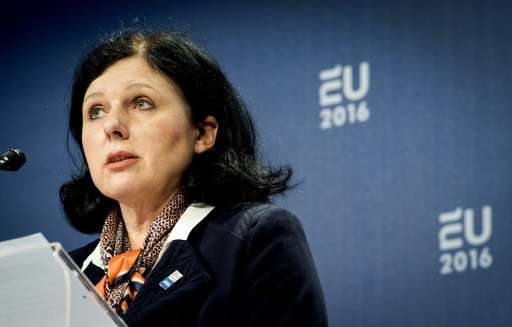 EU Commissioner for Justice Vera Jourova, seen in Amsterdam on January 26, 2016, says talks aimed at a deal that would replace a