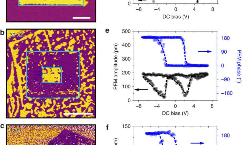 Ferroelectric polarization switching by PFM for CIPS flakes with different thicknesses