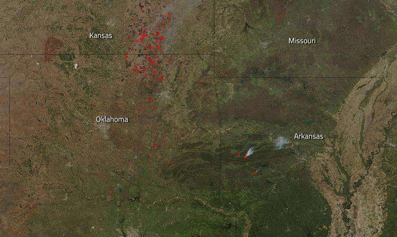 Forest fires blaze in central United States