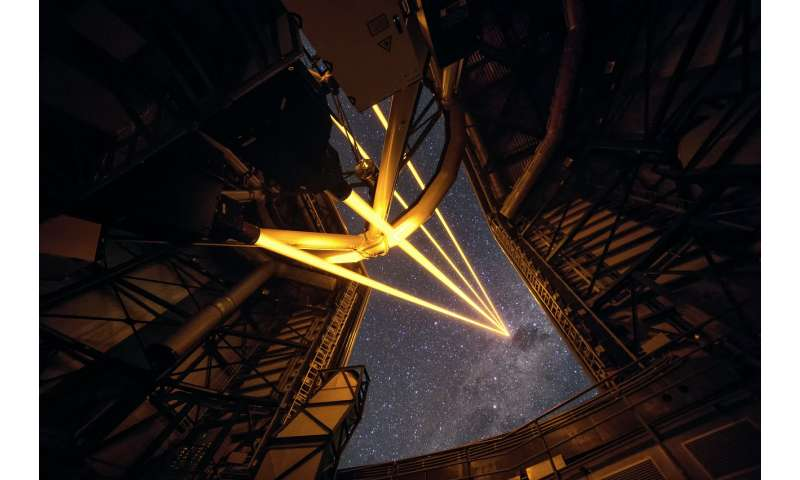 Four lasers over Paranal