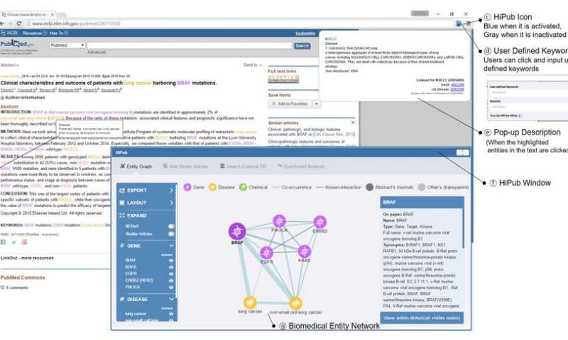 Free chrome plugin visualizes PubMed gene, protein, drug and disease connections
