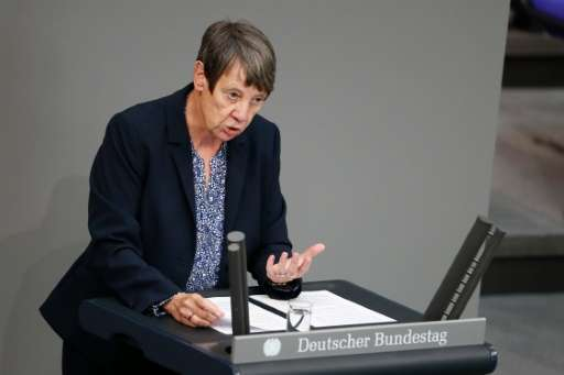 German Environment Minister Barbara Hendricks speaks at the Bundestag during a debate on the ratification of the Paris accord on