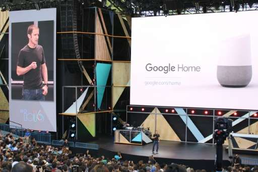 Google Home, about the size of a stout vase, was to hit the market by the end of this year