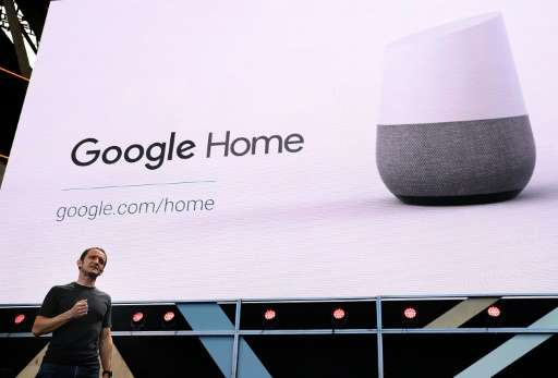 Google Vice President of Product Management Mario Queiroz shows the new Google Home on May 19, 2016 in Mountain View, California